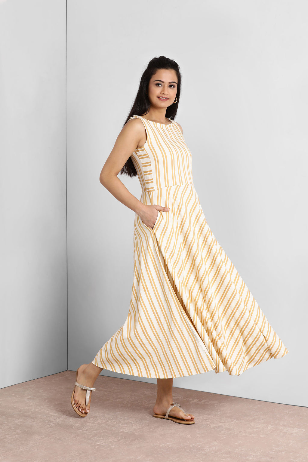 Yellow and White Striped Maxi