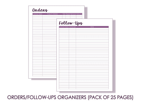 Orders/Follow-Ups Pages (Pack of 25 pages)