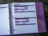 Party Organizers for Purple Planner Binder (Pack of 25 pages)
