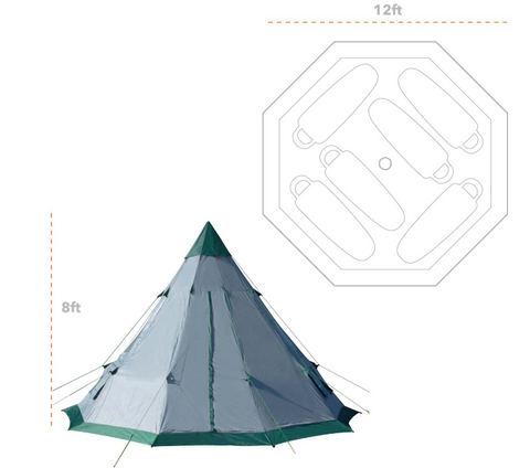 Quick Set-up 6-7 Person Spacious Teepee Family Camping Tent