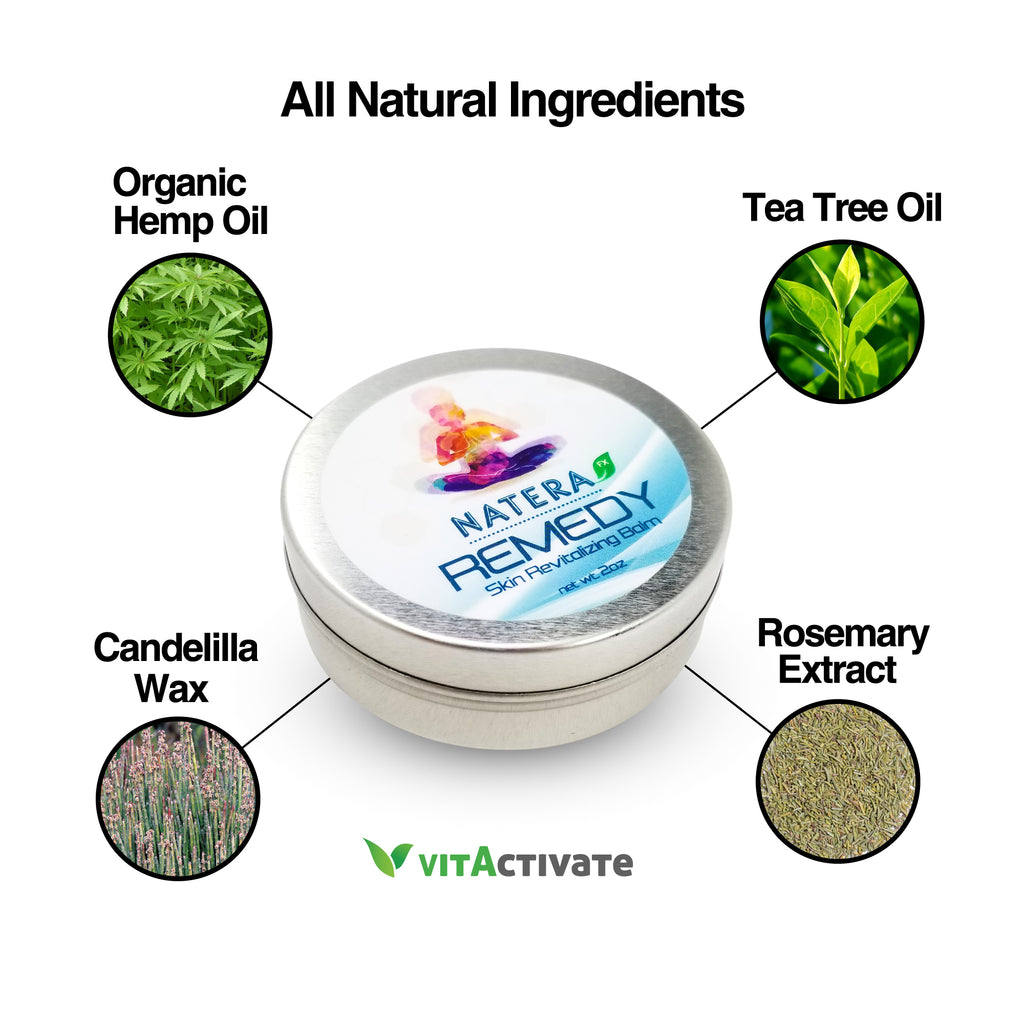 Natural Hemp Relief Balm for Skin Burn, Cuts, Soothing - NATERA - Vita Activate