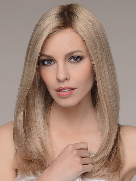 EMOTION by ELLEN WILLE in SANDY BLONDE ROOTED | Medium Honey Blonde, Light Ash Blonde, and Lightest Reddish Brown blend with Dark Roots