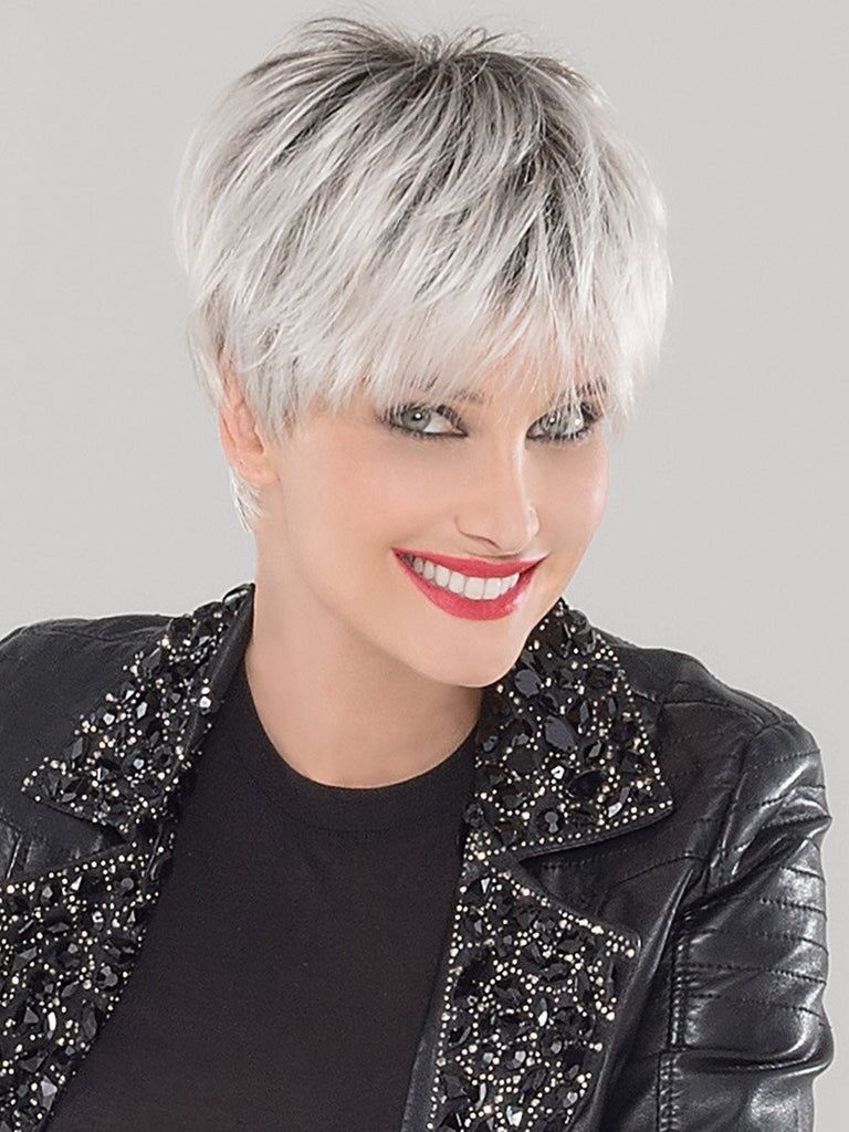 SWING by Ellen Wille in Silver Blonde Rooted Medium Honey Blonde, Light Ash Blonde, and Lightest Reddish Brown blend with Dark Roots