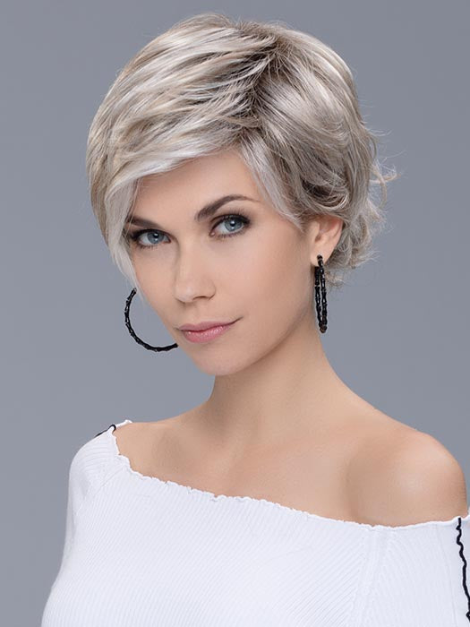 RAISE by ELLEN WILLE in PEARL BLONDE ROOTED | Pearl Platinum, Dark Ash Blonde, and Medium Honey Blonde mix