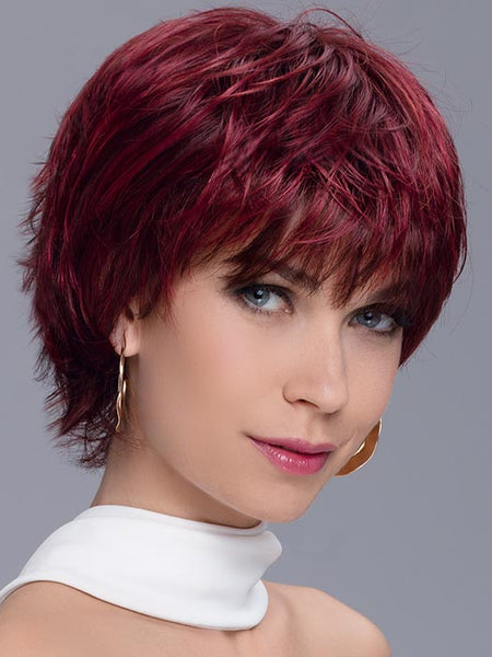 SPARK by ELLEN WILLE in WILD CHERRY ROOTED | Dark brown base, dark burgundy Red, and Bright Cherry Blend with Darker Roots