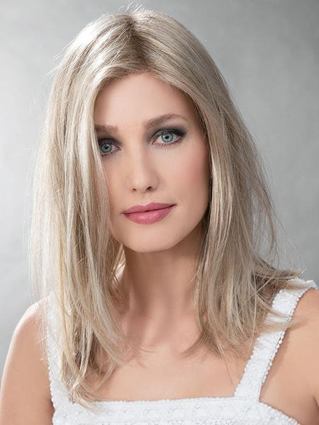 LEVEL by ELLEN WILLE in CHAMPAGNE TONED 22.16.25 | Med Beige Blonde,  Medium Honey Blonde, and lightest Blonde blend, with a root