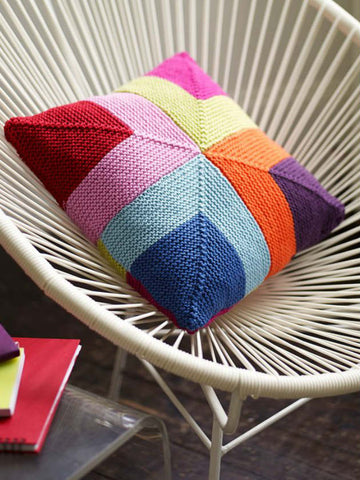Cushion Cover With Squares Knitting Pattern