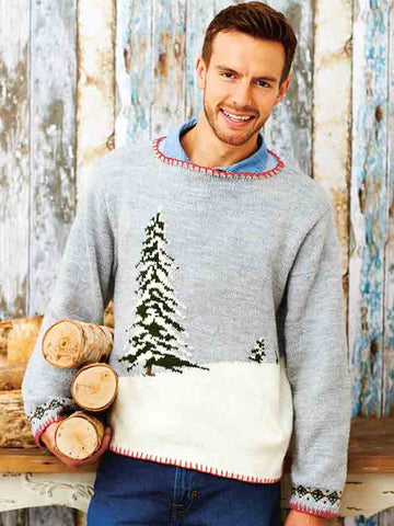 Men's Christmas jumper with tree and snow motif