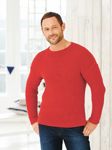 Men's red knitted jumper