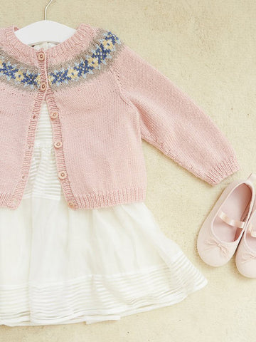 Pale pink Fair Isle cardigan for girls