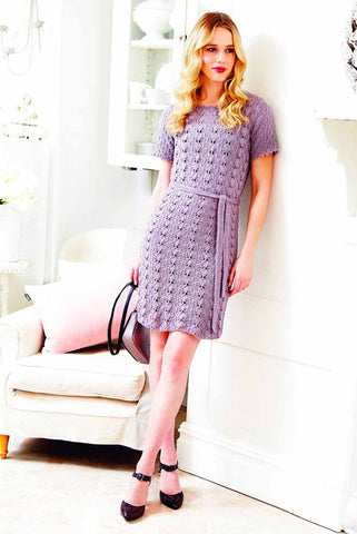 Vintage style ladies basket weave dress knitting pattern