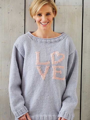 Women's love jumper knitting pattern
