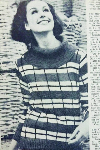 Vintage womens tartan jumper knitting pattern