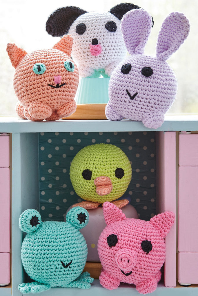 Crocheted amigurumi cat, dog, rabbit, frog, chick and pig