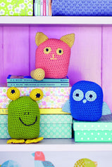 Amigurumi frog, cat and owl toys for children