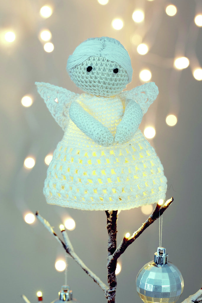 Crocheted angel Christmas tree topper