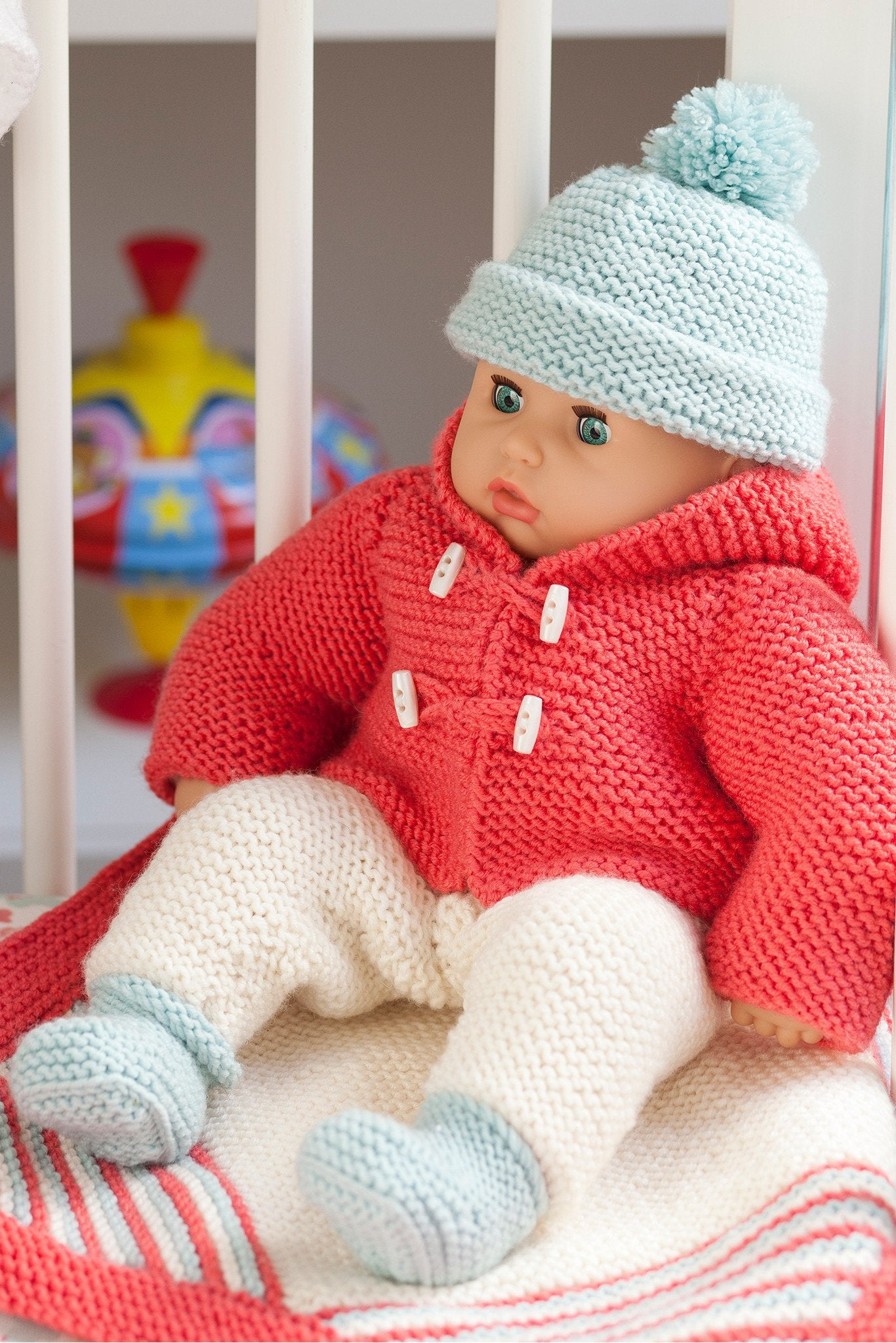 Baby Doll Jacket Accessories And Blanket Set Knitting Pattern The