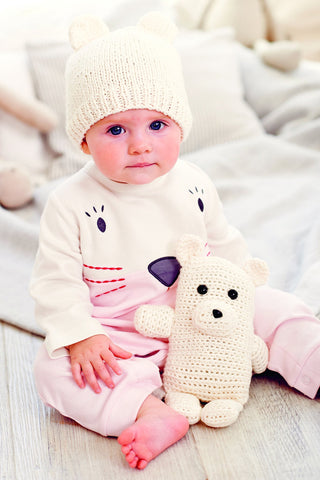 Knitted baby hat with polar bear ears