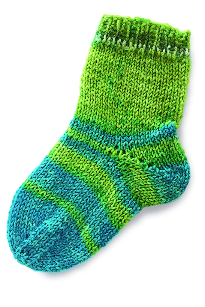 Green and blue striped socks for babies