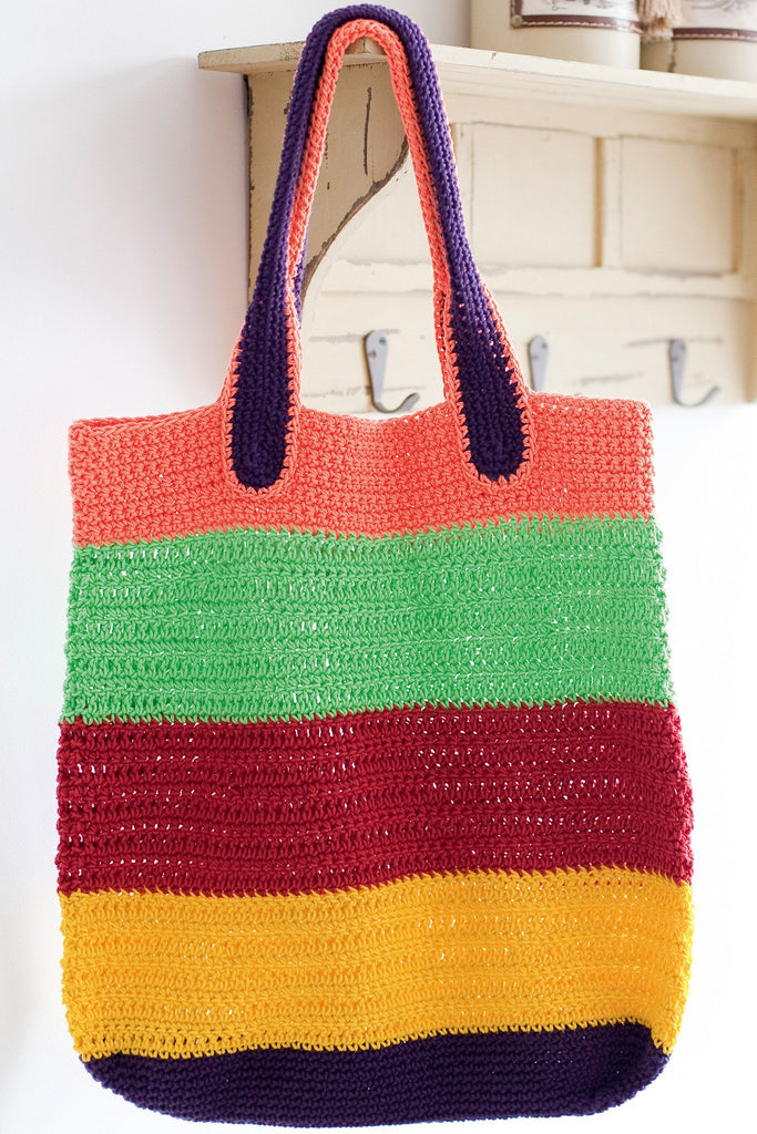 Colourful striped crochet bag with inset handles