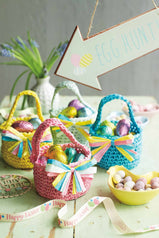 Small and colourful croched baskets