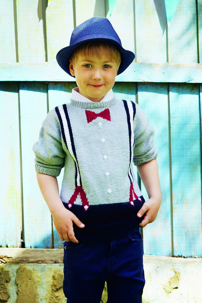 Knitted sweater for boys with bow tie and braces design