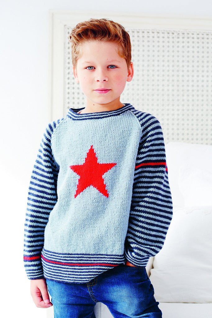 Boy's knitted jumper with striped arms and star motif