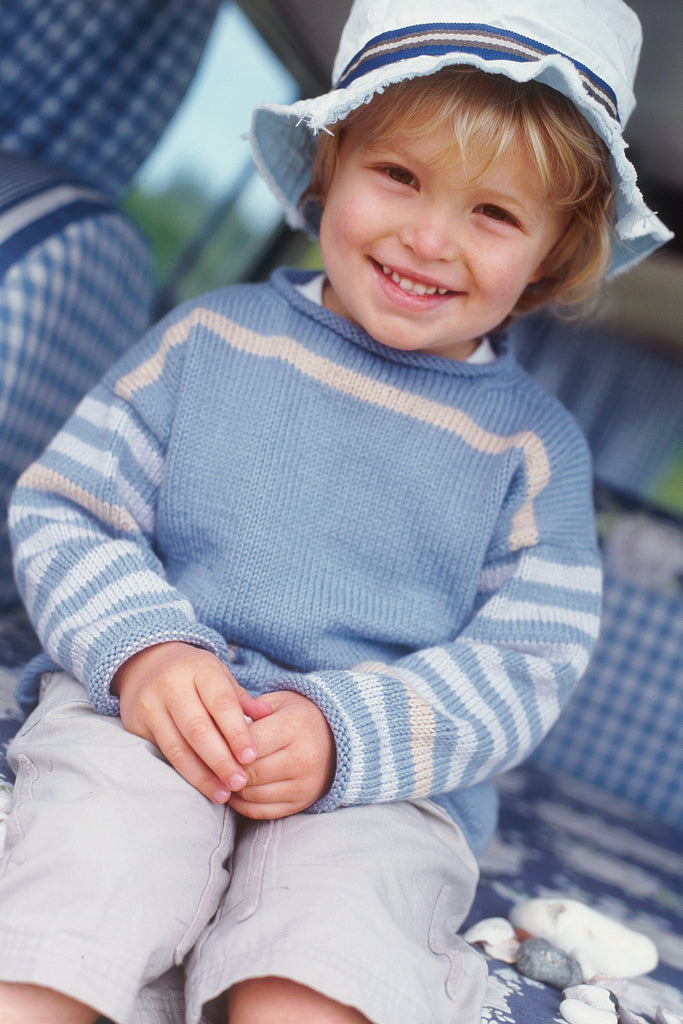 Boys Jumper With Striped Sleeves Knitting Pattern - The Knitting Network