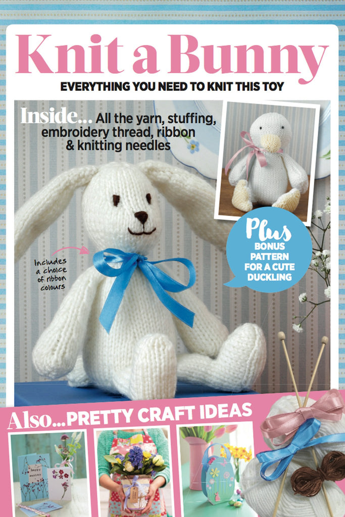 Bunny knitting kit with yarn