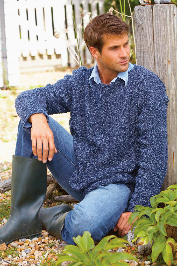 Long-sleeved knitted sweater for a man with cables