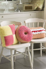 Trio of colourful cake cushions to crochet for your home