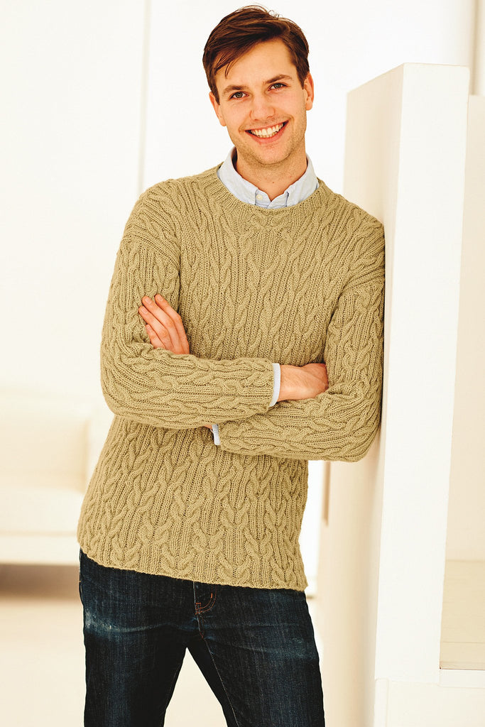 Casual Cable Mens Jumper Knitting Pattern - The Knitting Network