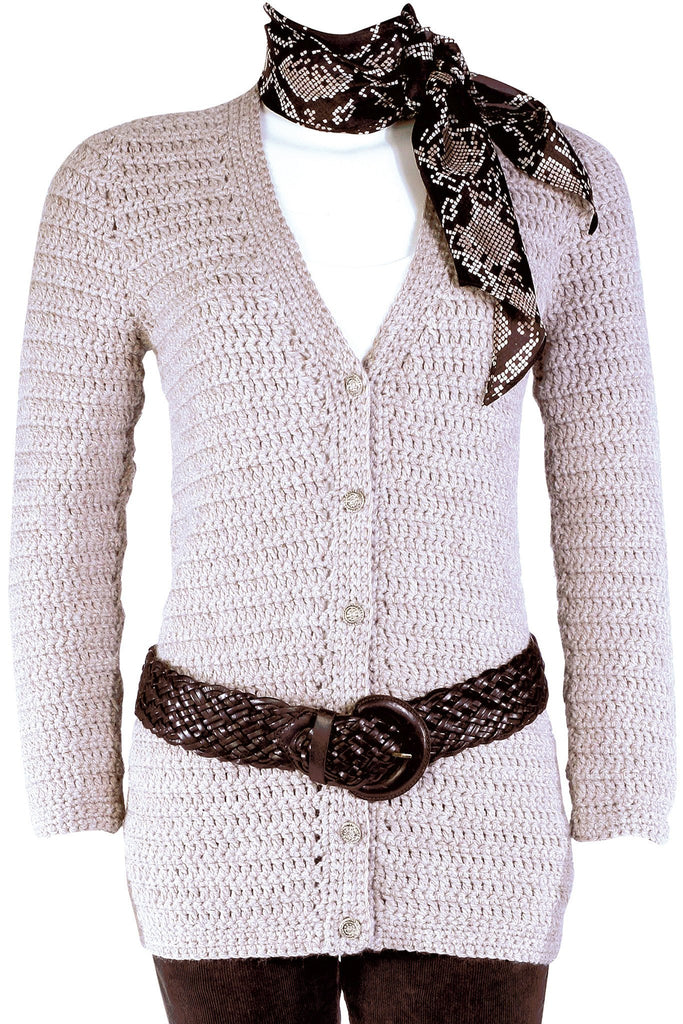 Long crocheted cardigan with buttoned front, V-neck and long sleeves