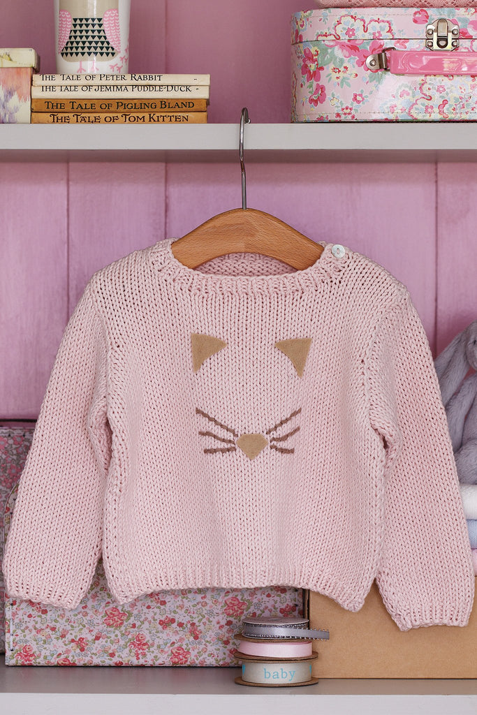 Cat Face Baby Jumper Knitting Pattern   The Knitting Network