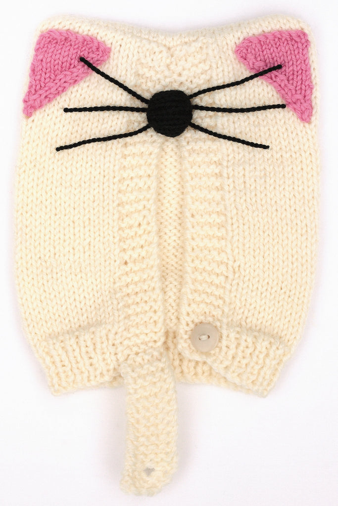 Knitted cat hat with featured ears, whiskers and nose