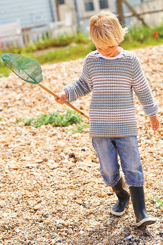 Knitted chambray striped boys jumper