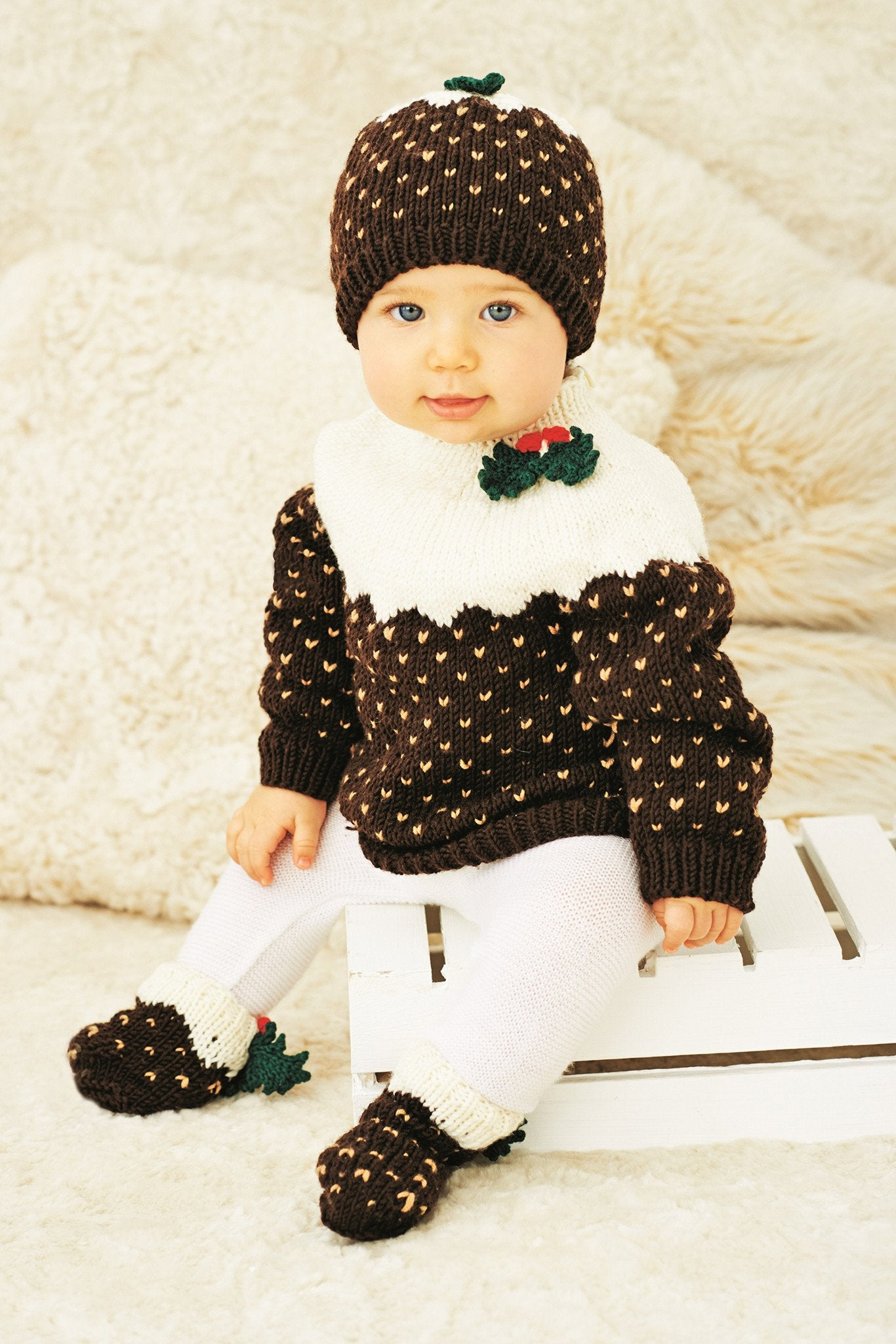 Christmas Pudding Jumper Hat & Socks Baby And Childrens Knitting