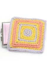 Retro square crocheted mirror case from vintage design