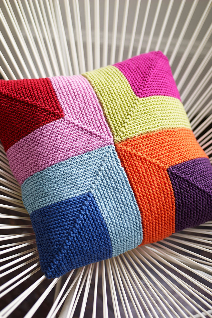 Cushion Cover With Squares Knitting Pattern - The Knitting Network