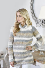 Roll Neck Raglan Sweater Knitting Pattern