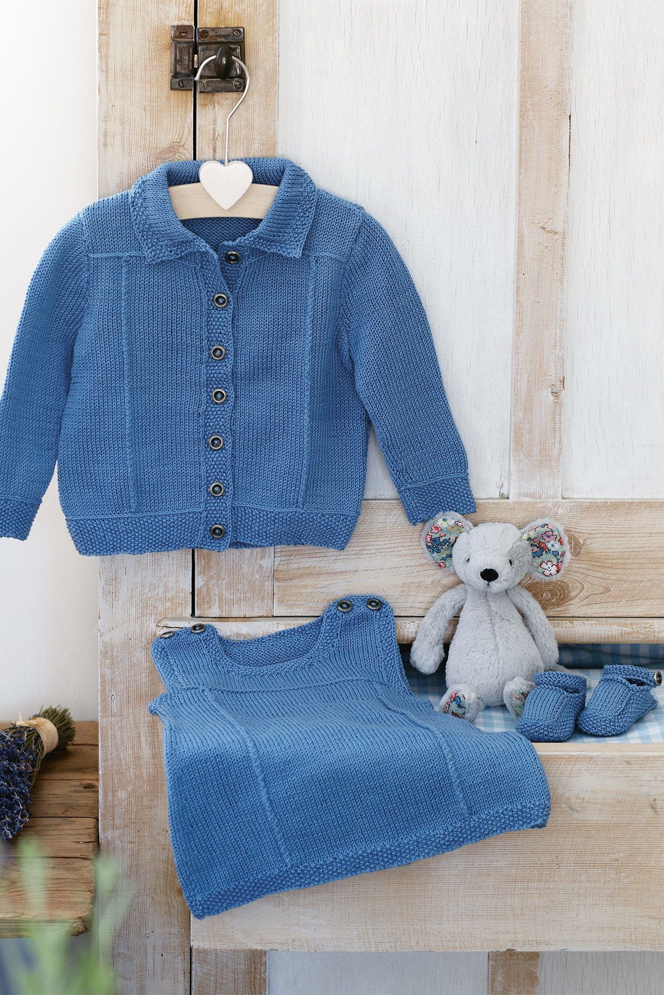Baby Girls Denim Jacket Dress & Shoe Set Knitting Pattern – The