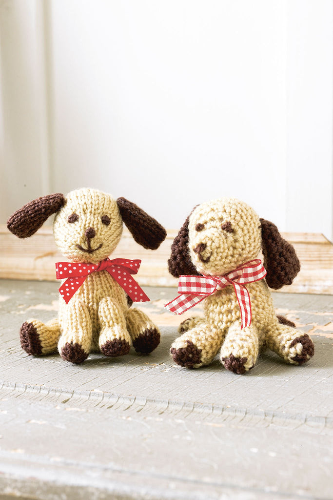 Knitted dog toy with crocheted dog toy