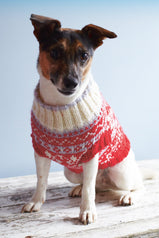 Red and cream knitted Fair Isle winter coat for a small dog with ribbed collar