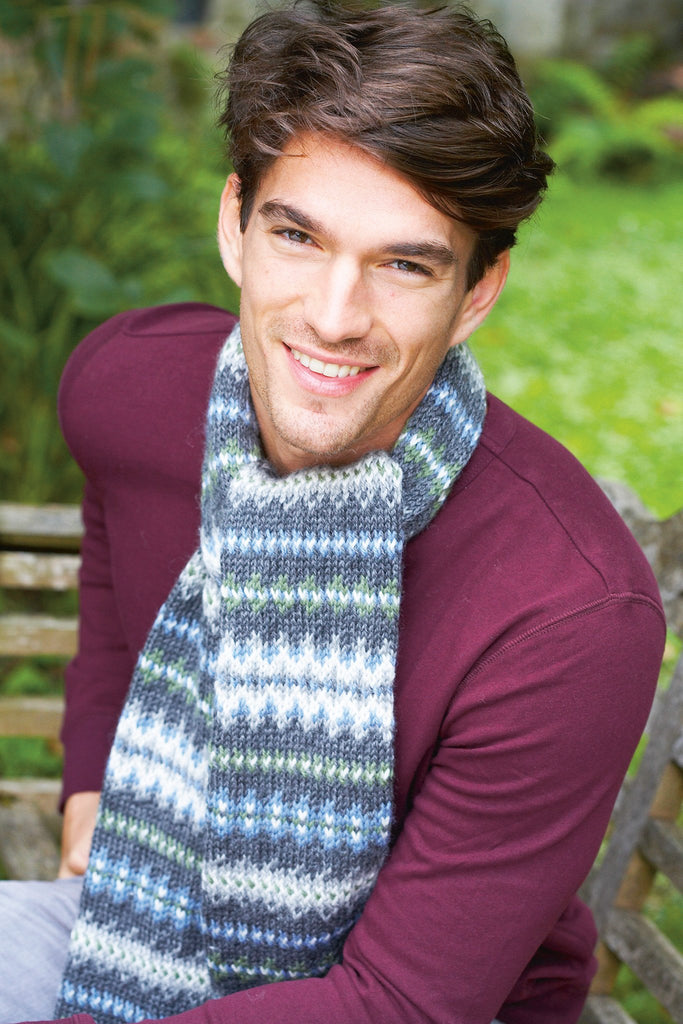 Knitted fair isle scarf for men