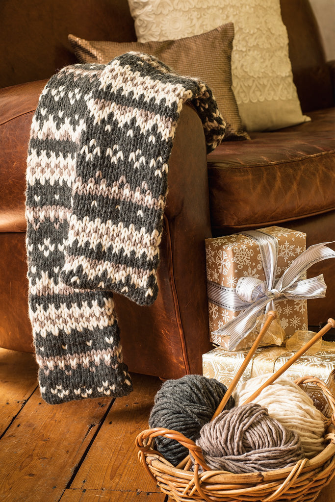 Knitted Fair Isle scarf in natural earthy colours