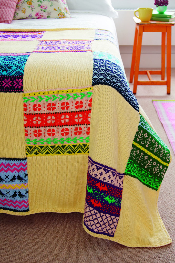 Knitted Baskets Free Patterns : Fair Isle Square Blanket Knitting Pattern   The Knitting Network