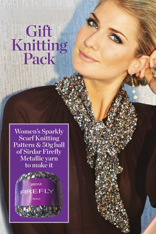 Women's sparkly scarf knitting pattern and yarn pack