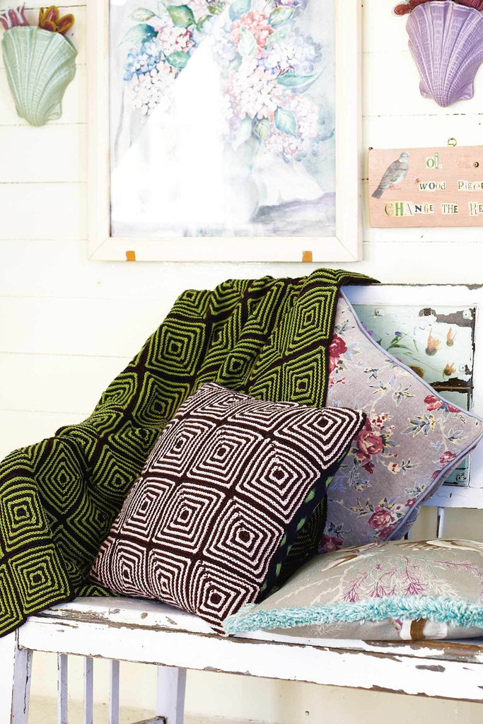 Knitting Patterns For Cushions And Throws : Geometric Cushion And Blanket Knitting Patterns   The Knitting Network