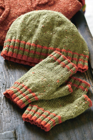 Striped knitted hat and matching fingerless gloves
