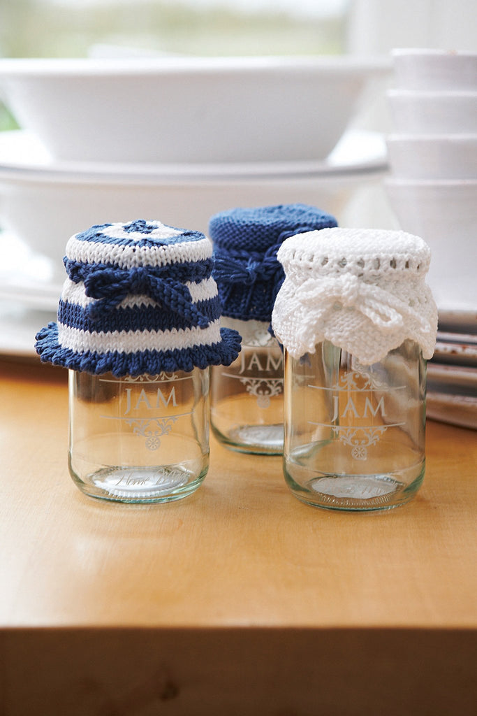 Jaunty knitted jar covers in matching designs